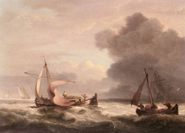 Dutch Barges In Open Seas